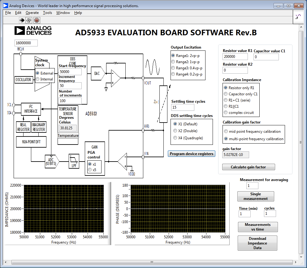 AD5933 measuring unknown impedance and setting proper