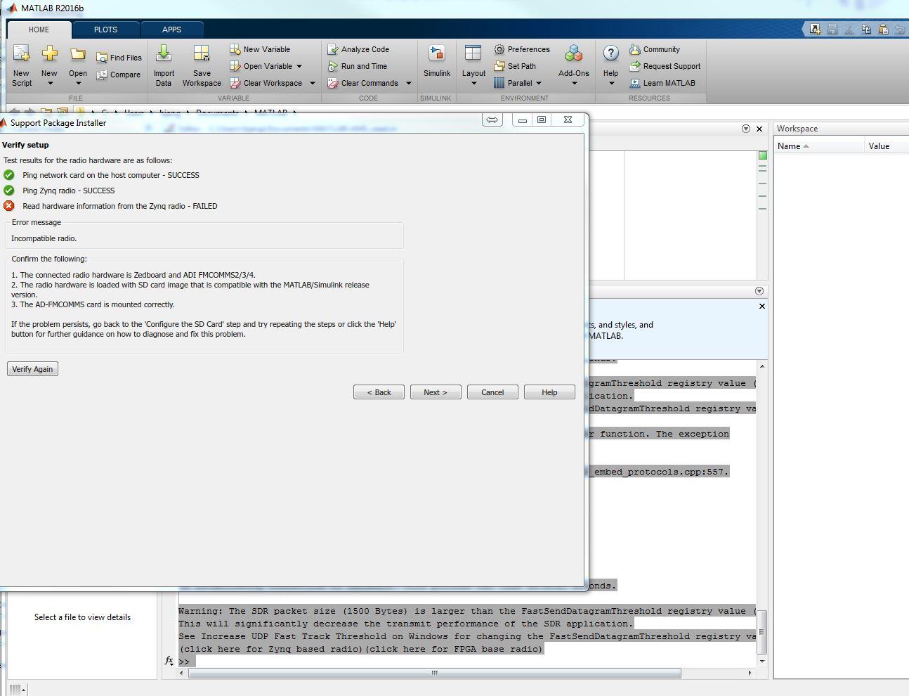 MAtlab setup in Zed+FMCOMMS2 - Q&A - FPGA Reference Designs
