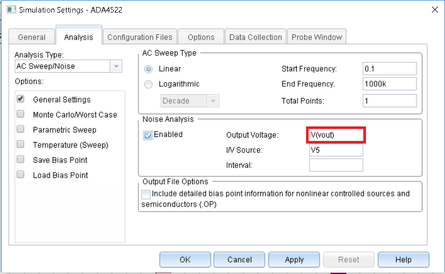 Error in Pspice for noise analysis - Q&A - Amplifiers
