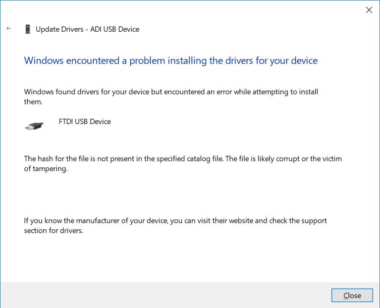 FTDI USB driver problem on Windows 10 - Q&A - Audio