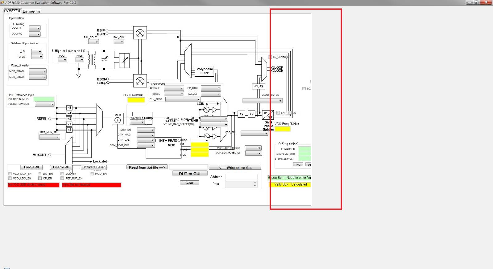 issue at a block diagram display in adrf6720/adrf6820 evaluation software