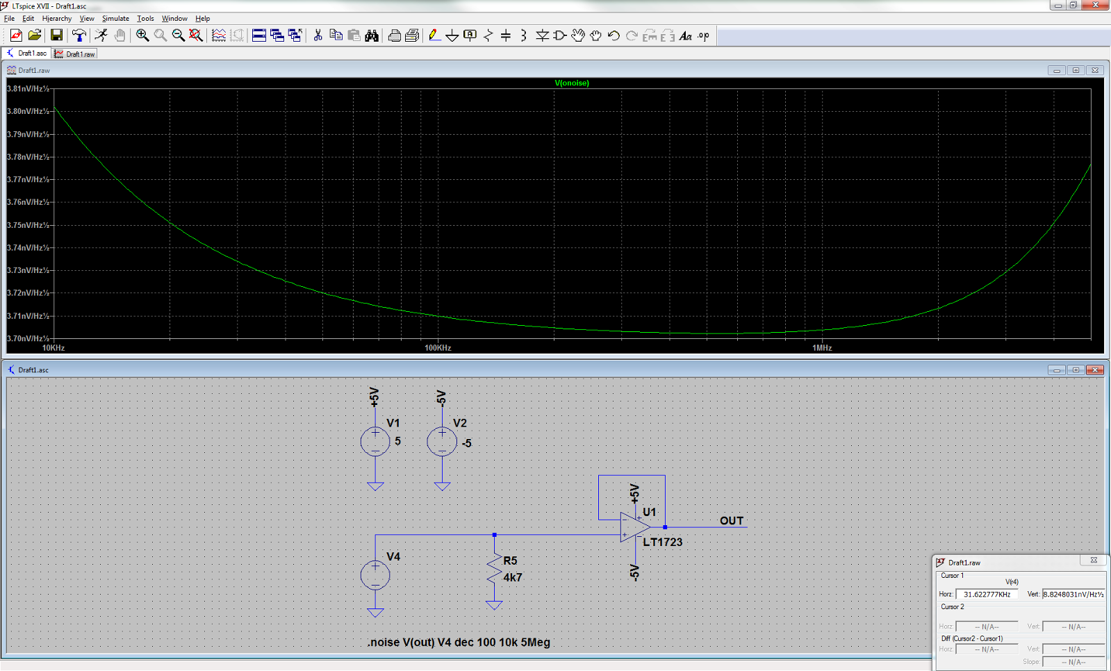 Noise Simulation In Ltspice Of Opamp With Resistor Qa Noninverting Amplifier We Can Accomplish Amplification Does Simulate The Current And Or What Did I Wrong