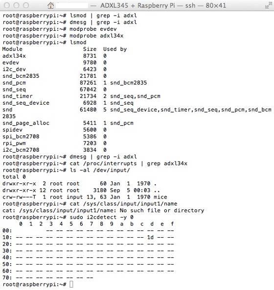 ADXL345 + Raspberry Pi + Linux Drivers - Q&A - Linux