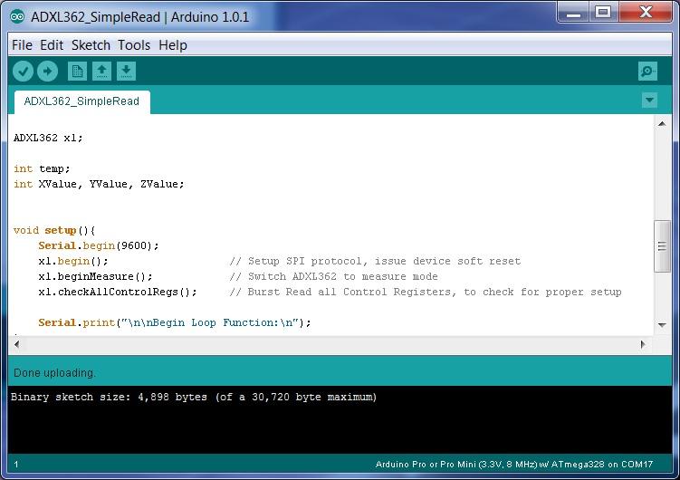 ADXL362 Arduino How-To - Documents - MEMS Inertial Sensors