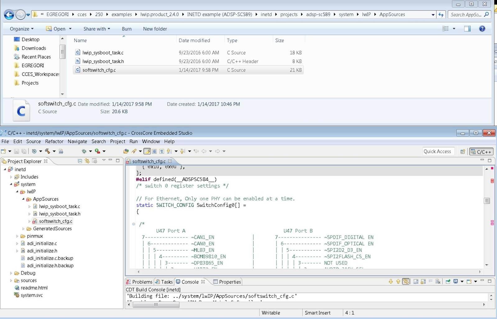 LWIP on SC584 EzKit - Documents - ADSP-SC5xx/ADSP-215xx