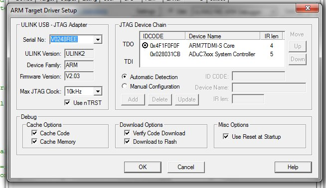 Programming the ADuC7126 via the ULINK2 and Keil - Q&A