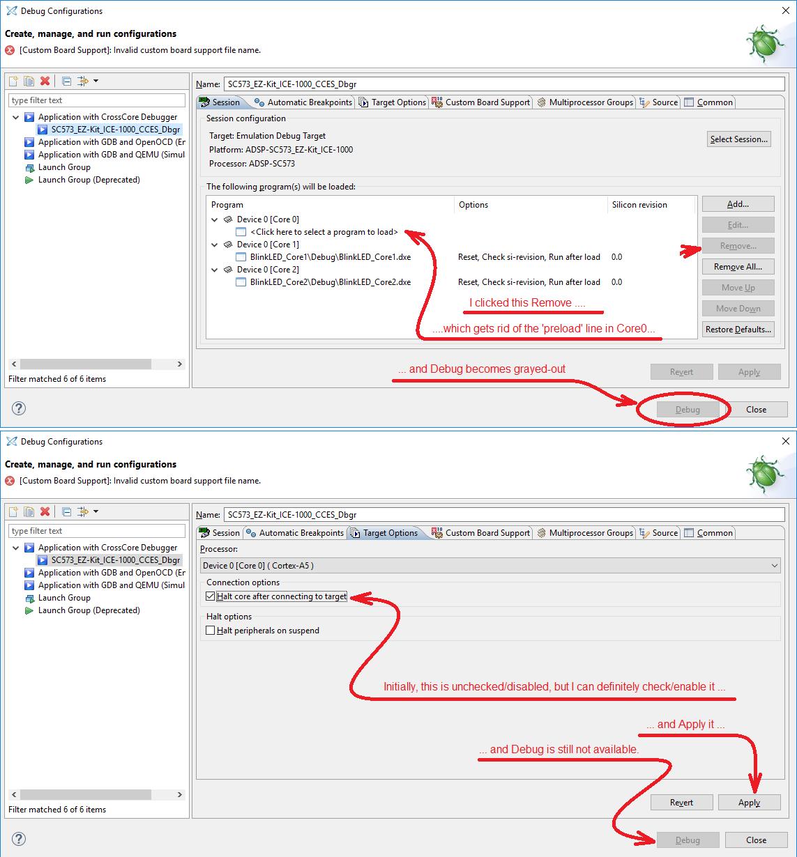 How to create a CCES debug configuration to debug SC573