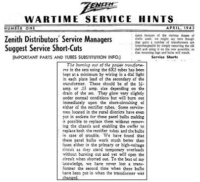 Zenith Wartime Service document